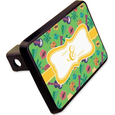 """Luau Party Rectangular Trailer Hitch Cover - 2"""" (Personalized)"""