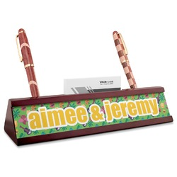 Luau Party Red Mahogany Nameplate with Business Card Holder (Personalized)