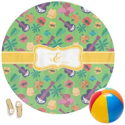 Luau Party Round Beach Towel (Personalized)