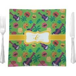 """Luau Party Glass Square Lunch / Dinner Plate 9.5"""" - Single or Set of 4 (Personalized)"""