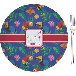 """Parrots & Toucans Glass Appetizer / Dessert Plates 8"""" - Single or Set (Personalized)"""