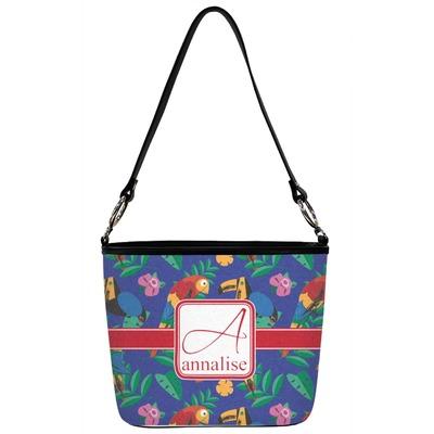 Parrots & Toucans Bucket Bag w/ Genuine Leather Trim (Personalized)