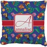 Parrots & Toucans Faux-Linen Throw Pillow (Personalized)