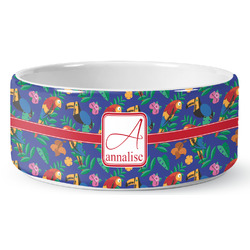 Parrots & Toucans Pet Bowl (Personalized)