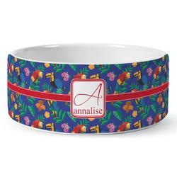 Parrots & Toucans Ceramic Dog Bowl (Personalized)