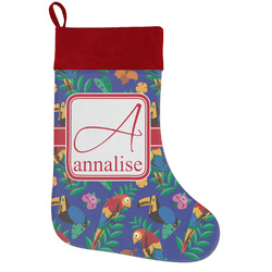 Parrots & Toucans Holiday Stocking w/ Name and Initial