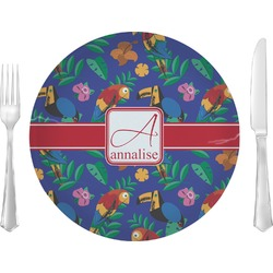 "Parrots & Toucans 10"" Glass Lunch / Dinner Plates - Single or Set (Personalized)"