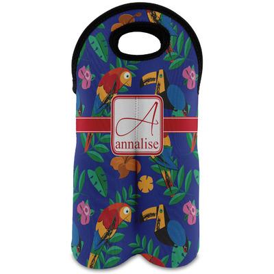 Parrots & Toucans Wine Tote Bag (2 Bottles) (Personalized)