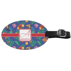 Parrots & Toucans Genuine Leather Oval Luggage Tag (Personalized)