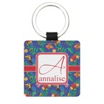 Parrots & Toucans Genuine Leather Rectangular Keychain (Personalized)