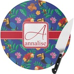 Parrots & Toucans Round Glass Cutting Board (Personalized)