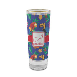 Parrots & Toucans 2 oz Shot Glass - Glass with Gold Rim (Personalized)