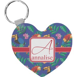 Parrots & Toucans Heart Keychain (Personalized)