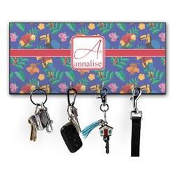 Parrots & Toucans Key Hanger w/ 4 Hooks w/ Name and Initial
