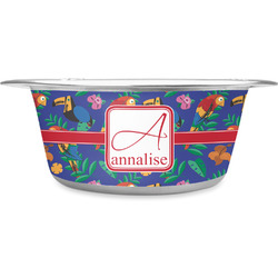 Parrots & Toucans Stainless Steel Dog Bowl (Personalized)