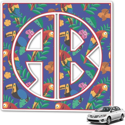 Parrots & Toucans Monogram Car Decal (Personalized)