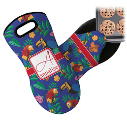 Parrots & Toucans Neoprene Oven Mitts w/ Name and Initial