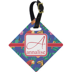 Parrots & Toucans Diamond Luggage Tag (Personalized)