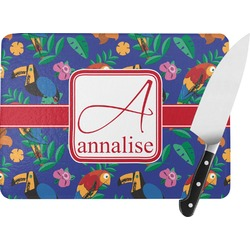 Parrots & Toucans Rectangular Glass Cutting Board (Personalized)