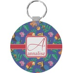 Parrots & Toucans Round Keychain (Personalized)