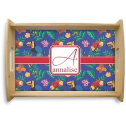 Parrots & Toucans Natural Wooden Tray (Personalized)