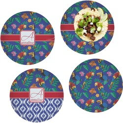 Parrots & Toucans Set of 4 Lunch / Dinner Plates (Glass) (Personalized)