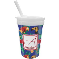 Parrots & Toucans Sippy Cup with Straw (Personalized)