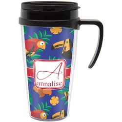 Parrots & Toucans Travel Mug with Handle (Personalized)