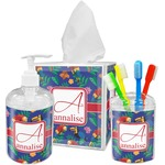 Parrots & Toucans Acrylic Bathroom Accessories Set w/ Name and Initial
