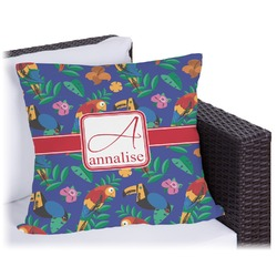 Parrots & Toucans Outdoor Pillow (Personalized)