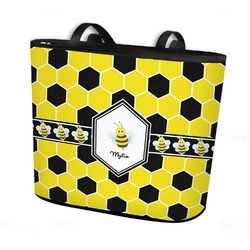 Honeycomb Bucket Tote w/ Genuine Leather Trim (Personalized)