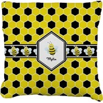 Honeycomb Faux-Linen Throw Pillow (Personalized)