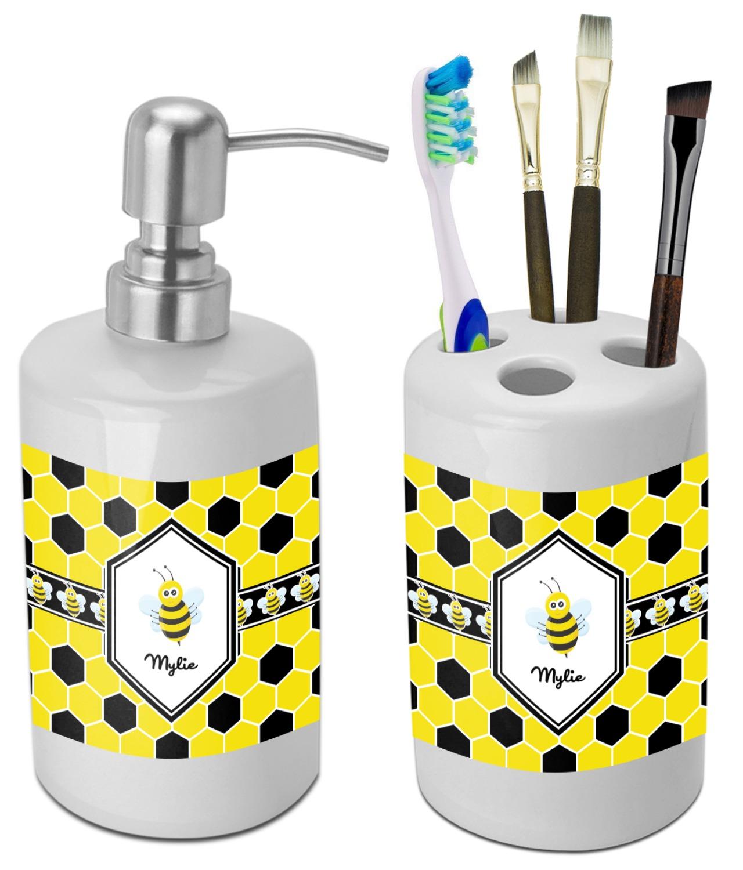 Honeycomb bathroom accessories set ceramic personalized for Ceramic bathroom accessories sets