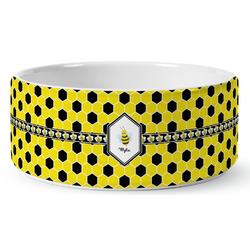 Honeycomb Ceramic Dog Bowl (Personalized)
