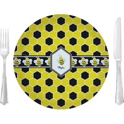 "Honeycomb 10"" Glass Lunch / Dinner Plates - Single or Set (Personalized)"
