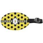 Honeycomb Genuine Leather Oval Luggage Tag (Personalized)