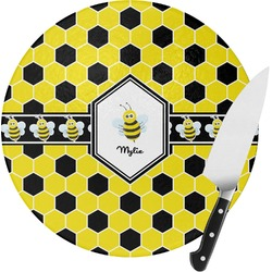 Honeycomb Round Glass Cutting Board (Personalized)