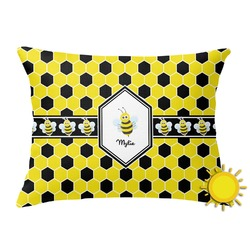 Honeycomb Outdoor Throw Pillow (Rectangular) (Personalized)