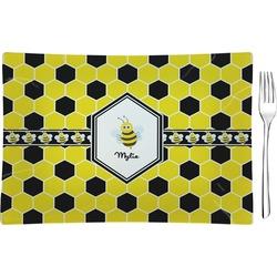 Honeycomb Glass Rectangular Appetizer / Dessert Plate - Single or Set (Personalized)