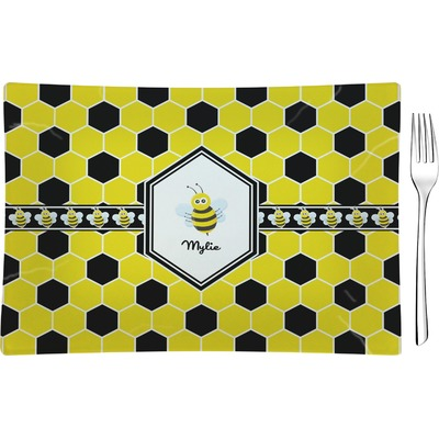 Honeycomb Rectangular Glass Appetizer / Dessert Plate - Single or Set (Personalized)
