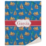 Boats & Palm Trees Sherpa Throw Blanket (Personalized)