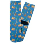 Boats & Palm Trees Adult Crew Socks (Personalized)