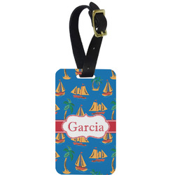 Boats & Palm Trees Aluminum Luggage Tag (Personalized)