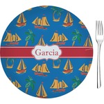 """Boats & Palm Trees Glass Appetizer / Dessert Plates 8"""" - Single or Set (Personalized)"""