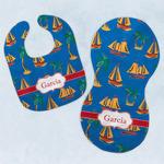 Boats & Palm Trees Baby Bib & Burp Set w/ Name or Text