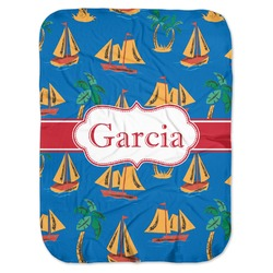 Boats & Palm Trees Baby Swaddling Blanket (Personalized)