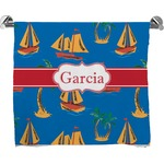 Boats & Palm Trees Full Print Bath Towel (Personalized)