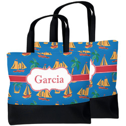 Boats & Palm Trees Beach Tote Bag (Personalized)