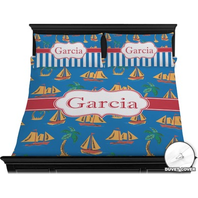 Boats & Palm Trees Duvet Cover Set - King (Personalized)