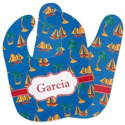 Boats & Palm Trees Baby Bib w/ Name or Text
